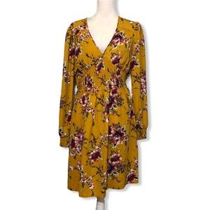 NWOT Gold Yellow Floral Long Sleeved Smocked Dress